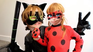 NiKO CAT NOIR  and  ADLEY LADY BUG  vs  WiFi MOM family pretend play as Adleys favorite cartoon show