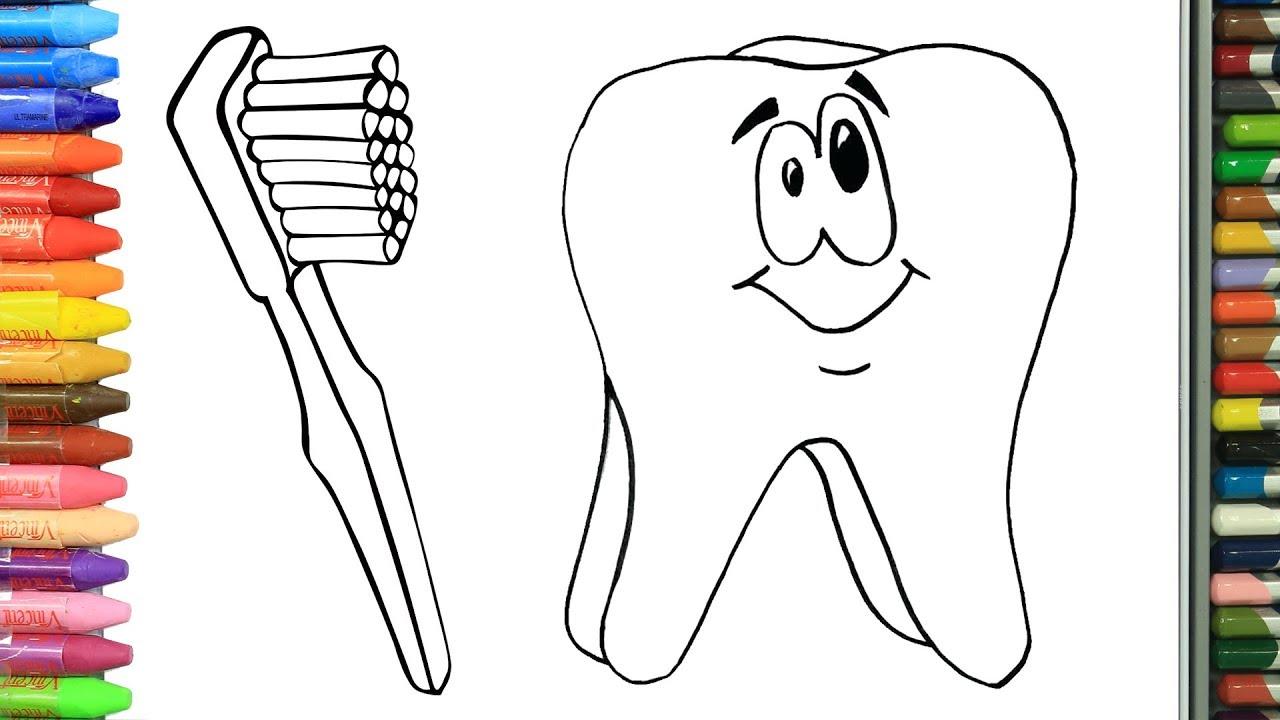Cómo Dibujar y Colorear diente, cepillo de dientes y pasta dental ...