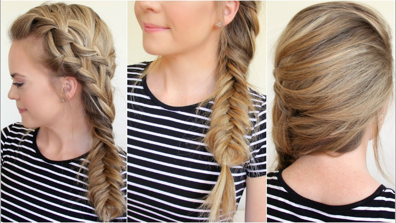Waterfall French Braid and Fishtail Side Braid - YouTube