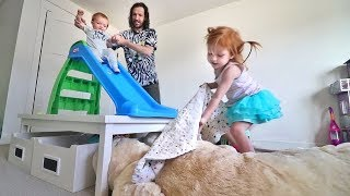 ULTIMATE TOY ROOM GAME!! Niko and Adley build a toddler daredevil slide ride!
