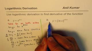logarithmic derivative for exponential ln trig function