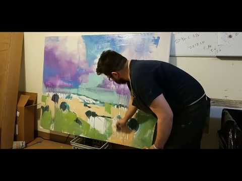 Making a Large Landscape Painting With Latex Paint! Artist Jose TRUJILLO