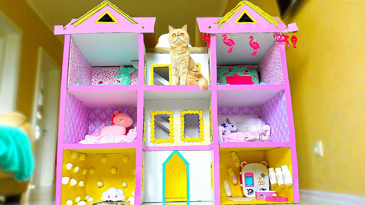 Building New Amazing Kitten Cat Pet House from Cardboard !