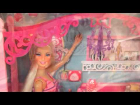 barbie glam bedroom furniture and doll set - youtube