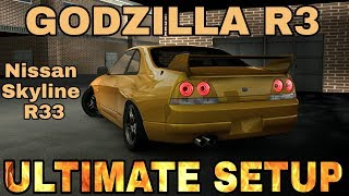 Godzilla R3 Ultimate Setup + Test Drive! (Nissan Skyline R33 Ultimate) CarX Drift Racing