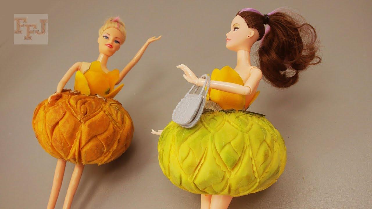 Satisfying Barbie Doll Pumpkin Dress Carving DIY Video - Fruit Miniature Design & Decoration