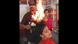 Cutting Hair with Fire Amazing Haircut with new Hair Style You Never Seen Before