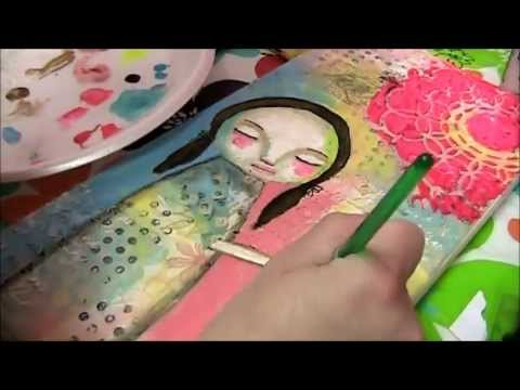 """""""He Loves Me Unconditionally"""" Whimsical Folk Art Mixed Media Painting by Daniella Hawkes"""