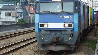 EH200形ブルーサンダー6号機コンテナ貨物列車23両編成 武蔵野線西国分寺駅通過