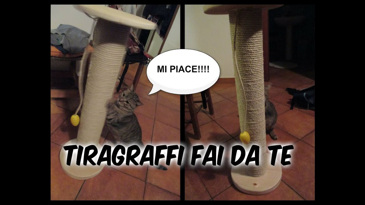 Diy tiragraffi per gatti a colonna fai da te youtube for Altalena in legno fai da te