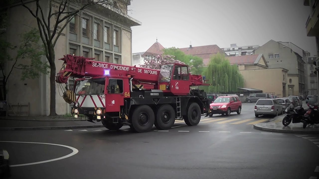 pompiers gen ve grue 64 camion 52 et voiture 3 geneva fire crane youtube. Black Bedroom Furniture Sets. Home Design Ideas