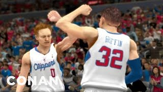 Repeat youtube video Blake Griffin Has A Secret Teammate In His New Video Game - CONAN on TBS