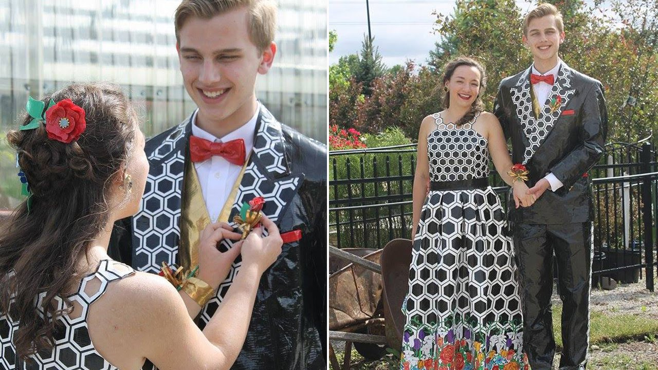 How This High School Couple Made Duct Tape Outfits For Prom - YouTube