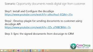 How to Sync the Signed documents from DocuSign System to Dynamics 365 CRM