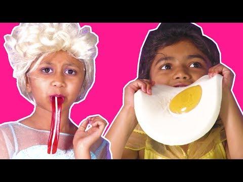 Gummy Food VS Real Food Challenge - Princess Has a Magic Gummys Machine! - Princesses In Real Life
