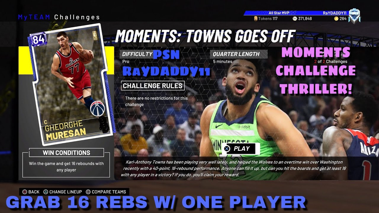 2d224ec43ce NBA 2K19 MY TEAM MOMENTS CHALLENGE THRILLER!...16 REBS WITH 1 PLAYER ...