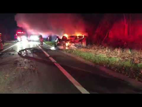 Car Bursts Into Flames After Overturning On Taconic Parkway In Yorktown