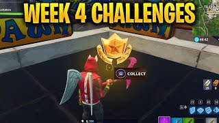 FORTNITE SEASON 5 WEEK 4 CHALLENGES - BATTLE STAR LOCATION & TREASURE MAP & BATTLE PASS CHALLENGES