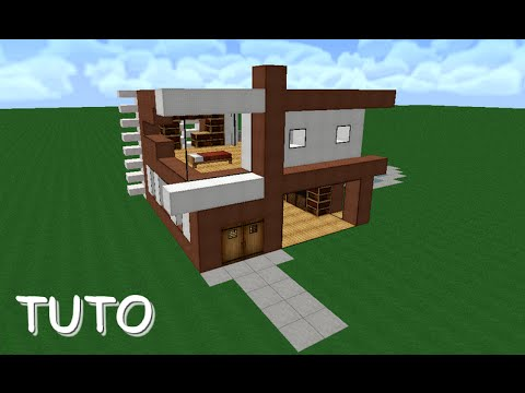Tuto petite maison moderne minecraft youtube for Plan maison minecraft moderne