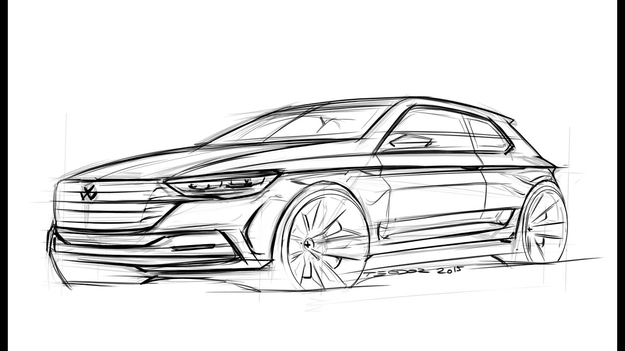 Car sketch tutorial golf r youtube