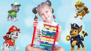 Learn colors with Julia funny girl and puppy patrol Song for kids Finger Family