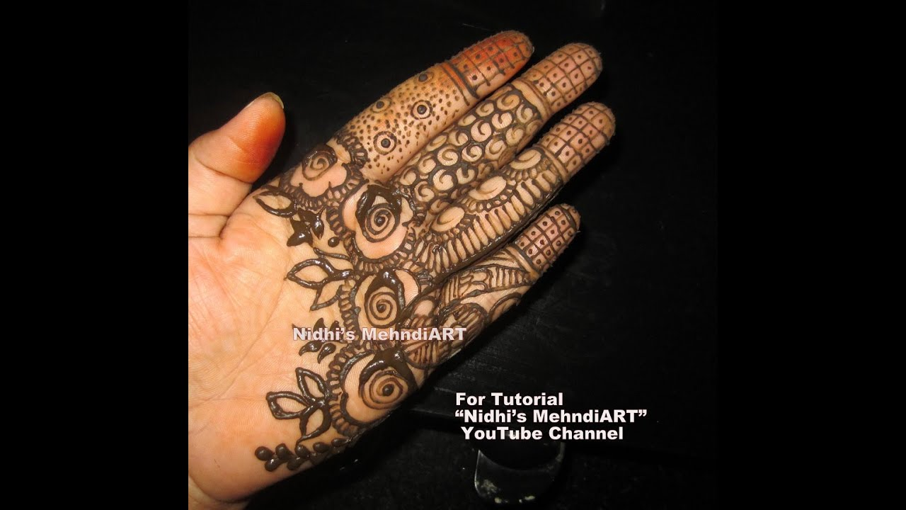 Mehndi Design For Fingers Front Side : Easy arabic henna mehndi design tutorial for front hand