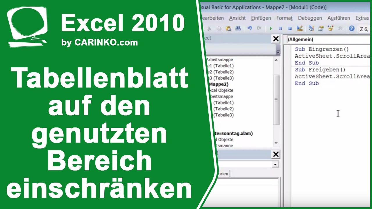 MS Office 2010 Excel-Tabellenblatt auf den genutzten Bereich ...