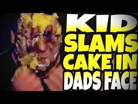 KID SLAMS CAKE IN DADS FACE!!!