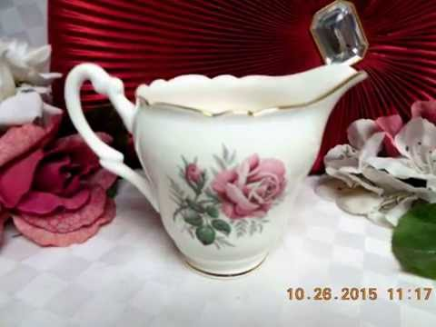Winston Vintage White China England Pink Rose, W/Gold Trim Collection