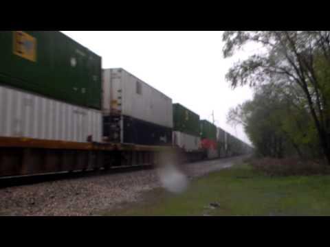 UP 8660 EB @ Otis in rain