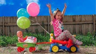 Кукла Беби Бон и День рождения на детской площадке Baby Born Doll fun play on the indoor playground