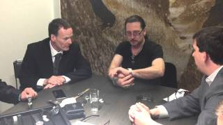 Eric Singer and Teddy Andreadi try on the Skindiver II