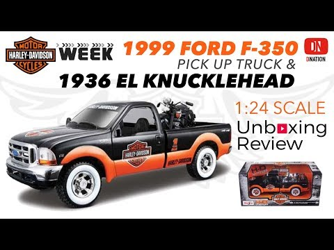 Unboxing Harley Davidson 1999 Ford F-350 Pickup Truck & 1936 El Knucklehead Motorcycle by Maisto