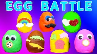 PLAY DOH BATTLE Surprise Eggs ZELFS SPONGEBOB PEPPA PIG FROZEN DISNEY MOVIE TOYS