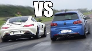 740HP Volkswagen Golf R BiTurbo vs Mercedes AMG GTS - RACE!