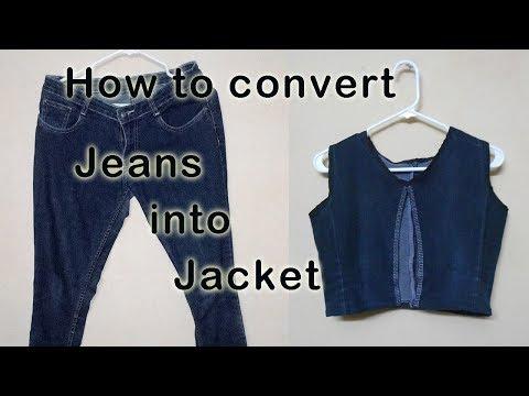 How to make Jacket / coat with Old Jeans | DIY | Niya Kumar