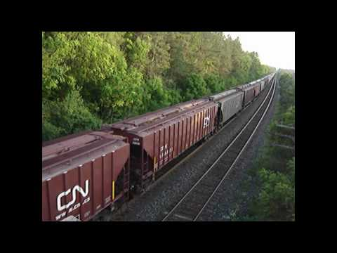 VIA 88 and Two CN Freights From the Denfield Road Bridge