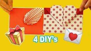 4 DIY ENVELOPES de CARTA  💌💌💌 Envelope de Origami