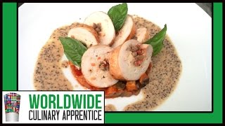 Chicken Roulade,Grainy Mustard Sauce, bed of Ratatouille. How to use Caul Fat. Crepinette de Poulet