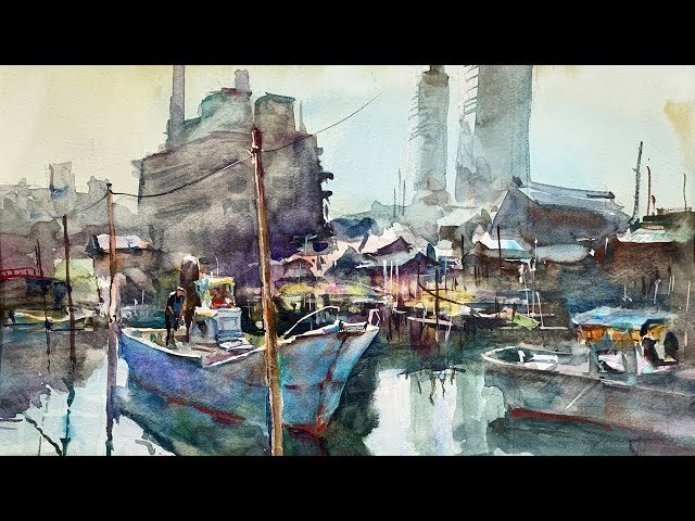 Fisherman's Wharf - Healing Watercolor Art - Calming
