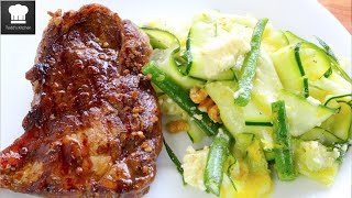 Balsamic Beef With Zucchini Bean Salad