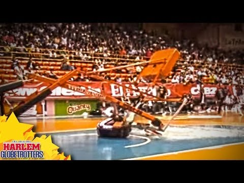 Scary Hoop Collapse on Globetrotter, Shatters Backboard