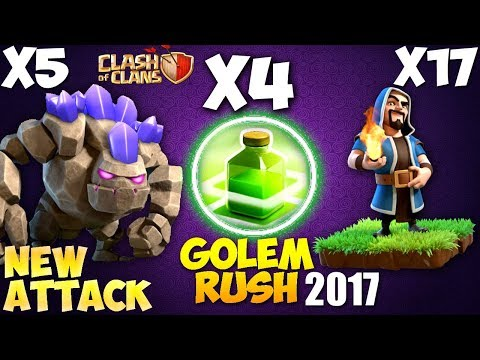 5 GOLEM + 17 WIZARD: GOLEM RUSH NEW TH9 STRONG WAR ATTACK STRATEGY 2017 | Clash of Clans