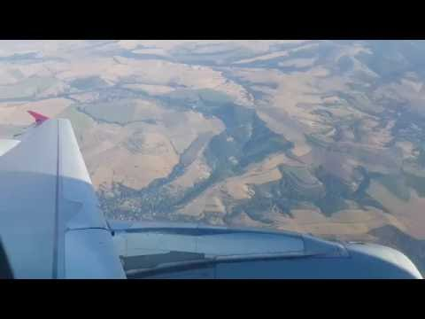 Landing at Sofia airport (SOF) - Beautiful approach - Qatar Airways flight 225 - (14.08.2016)