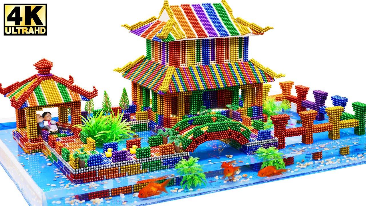 DIY - Building Old Chinese Mansion Has Aquarium from Magnetic Balls (Satisfying) | Magnetic Man 4K