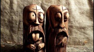 Смешные пучеглазые статуэтки. резьба по дереву.wood carving, sculpture, funny face