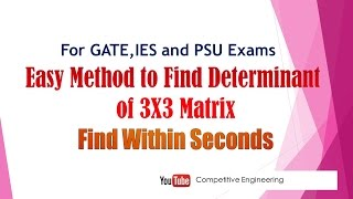 Easy Shortcut method to find determinant of 3x3 matrix for GATE,IES and PSU