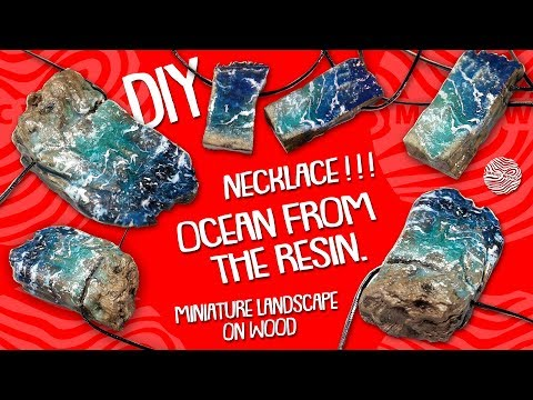DIY. Ocean from the resin .Wooden Necklace / Pendant / Miniature landscape on wood.