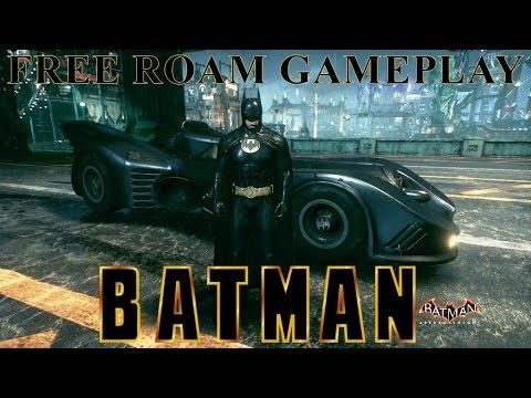 Batman Arkham Knight - 1989 Batmobile Free Roam Gameplay (With Michael Keaton Skin!)