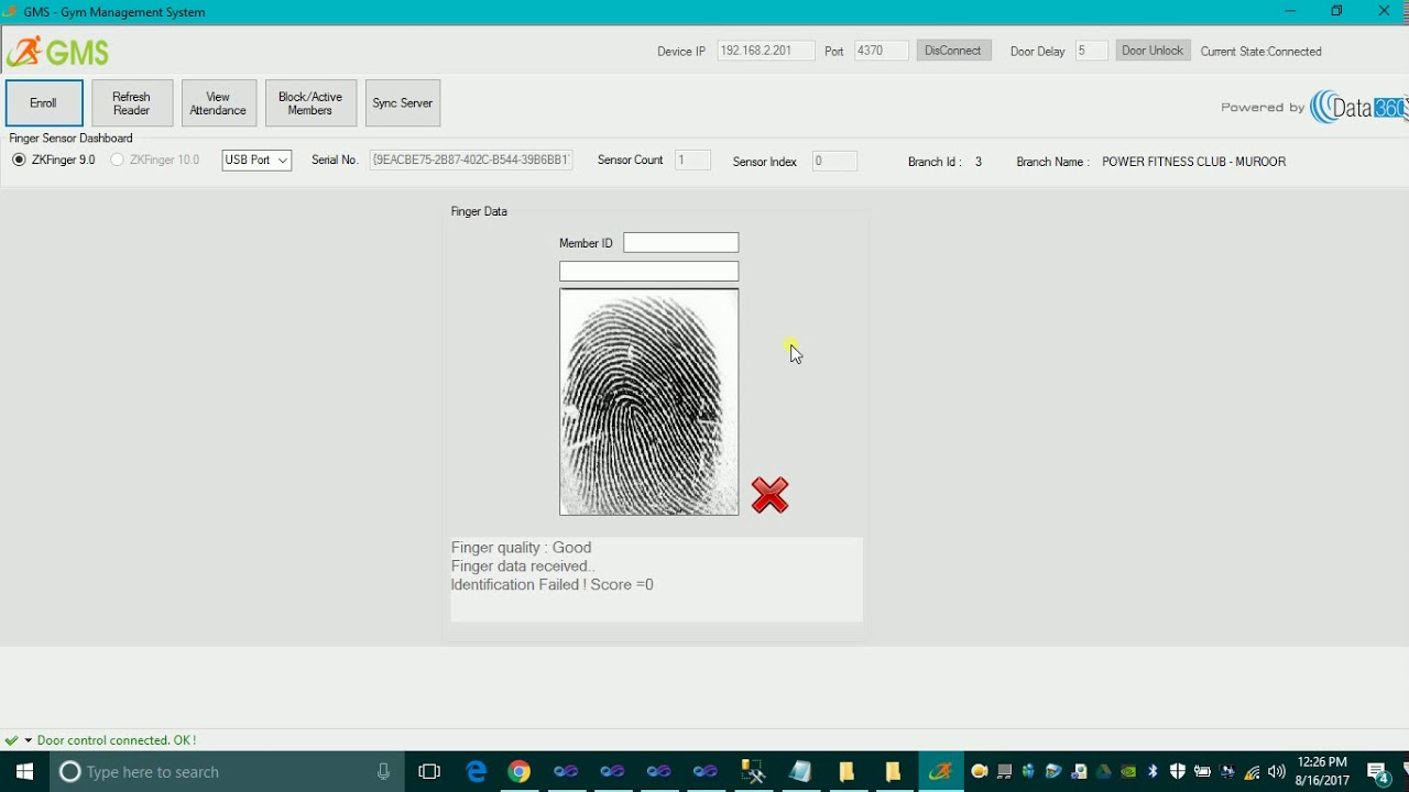 Membership Management using ZK4500 Fingerprint sensor using C# with sdk